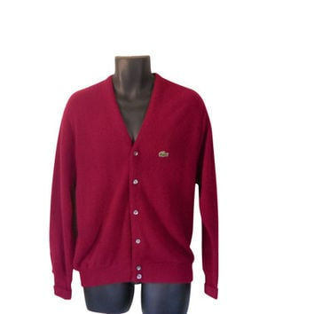 Izod Lacoste Sweater Izod Cardigan Lacoste Men Sweater Maroon Cardigan Burgundy Cardigan Burgundy Sweater Men Cardigan Sweater Preppy 80s