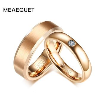 Meaeguet Rose Gold Color Tungsten Carbide Couple Ring For Men Women CZ Engagement Ring Wedding Jewelry Valentine's Day