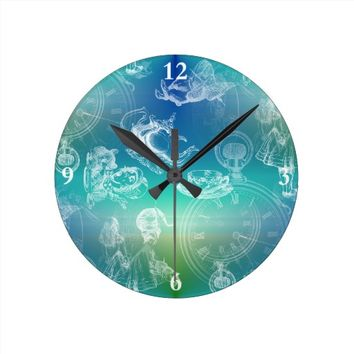 Alice in Wonderland Teatime Blue Green Clock