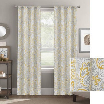 """Better Homes and Gardens Scalloped Paisley Curtain Panel 52""""X63"""" Gold"""