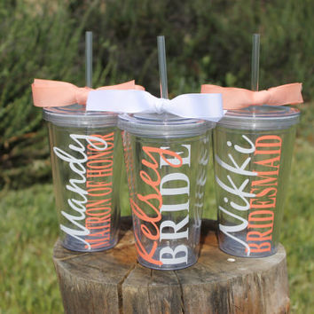 Sale! Set of 10 Personalized Bridal Party Tumblers for the price of 9 - Bride Bridesmaid Maid of Honor- Great for a Bridal Party Gift
