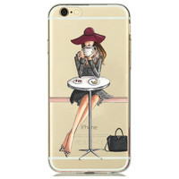 Girl with Big Hat Drinking Coffee At Bistro Table Clear Phone Case For iPhone 7 7Plus 6 6s Plus 5 5s SE