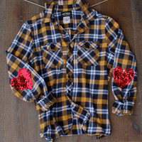 Boyfriend Flannel Shirt w Sequin Heart Elbow Patch Flannel Womens The Dazzle Y'all Grunge Hipster Sequin Elbow Patches  Womens Flannel Shirt