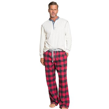 Melange Buffalo Check Flannel Pant in Red by True Grit