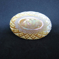 Antique Carved Brooch Oval Shape Mother of Pearl Shell Cross Hatch Carving Reveals Golden Iridescent Shell Layers