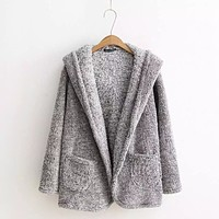 The wind new winter leisure loose hooded cardigan coat Plush