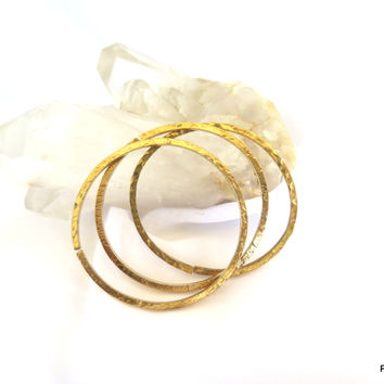 Thick Gold Square Bangle Set of Three, gift under 30