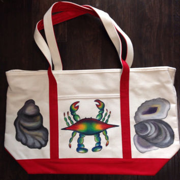 Tote Bag Hand Painted with Blue Crab and Oyster Shells