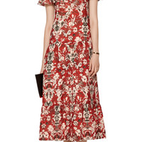 Yonelia cold-shoulder printed broadcloth midi dress | IRO | US | THE OUTNET