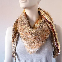 Knit Triangle Scarf, Hand knit Scarf, Womens Scarf, Autumn Scarf