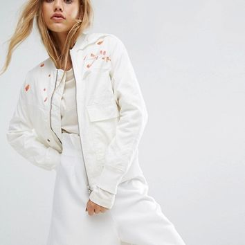 Maharishi Upcycled Arctic Rib Jacket With Blossom Embroidery at asos.com