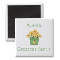 World's Greatest Auntie (flower) Fridge Magnets from Zazzle.com