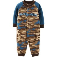 Child of Mine by Carter's Newborn Boy Snap Front Fleece Jumpsuit - Walmart.com