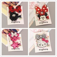 2017 Hello Kitty Minnie Mouse Ears Girls Kids Hair Clips Hairpin Accessories For Children Hair Bow Barrette Hairclip Headdress