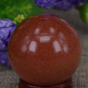 "40mm(1.6"")Red Goldstone Sand Sphere Crystal Globe Ball Chakra Healing Reiki Stone Carving Crafts W/Stand"