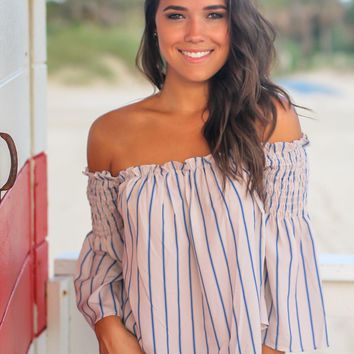 Rose Striped Off Shoulder Top with Bell Sleeves