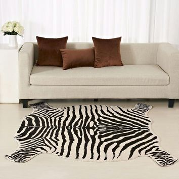 Enipate Zebra Cow Goat Printed Rug Cowhide Faux Skin Leather NonSlip Antiskid Mat Animal Print Carpet for Home 110X75CM/50*90CM