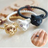 New Womens Fashion Gold Plated Cut Cat Head Rings Lovely Animal Boho Metal Finger Rings for Women Party A1084