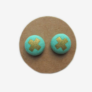 Gold 'X Marks the Spot' on Aqua/Turquoise Background // Aqua // Turquoise // Gold // Metallic // Fall Earrings // Nickel Free // For Her //