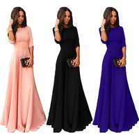 Womens Long Chiffon 3/4 Sleeve Cocktail Formal Party Prom Ball Gown Maxi Dress