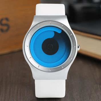 Creative Men's Watches Turntable Blue Swirl Pointer Fashion Minimalist Style Unisex Couple Wrist Watch Gifts Male Female Clock