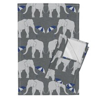 Orpington Tea Towels featuring elephant_and_umbrella_navy by holli_zollinger