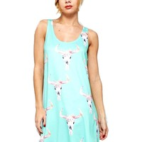 Bull Skull Print Sleeveless Dress, Mint