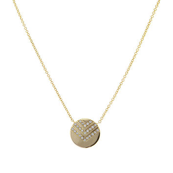 Chevron Gold Disk Necklace with Diamonds