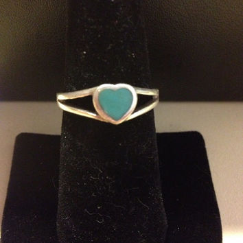 Turquoise Heart Sterling Ring Size 8.5 Silver 925 Southwestern Tribal Mexican Mexico Vintage Jewelry Love Blue Stone Bridal Prom Amazonite