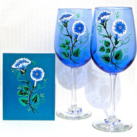 Hand Painted Blue Wine Glasses With A Matching Card