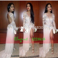 2015 Sparkly Prom Dresses O Neck Full Sleeve Chiffon Crystal Beads Glitter Backless Side Split Long Evening Dress Gown Elegant