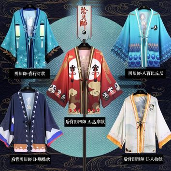 9Colors Japanese Performance Kimono Haori Onmyoji Cosplay Costume Cardigan Chiffon Cloak Bathrobe Daily Cape