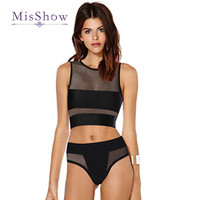 2017 NEW mesh tank tops bikini crop tops mesh bikini mesh hollow out swimsuit cut out net yarn swimwear high cut bathing suits
