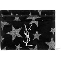 Saint Laurent - Glittered suede cardholder