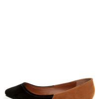 Bamboo Jump 38 Black and Tan Two-Tone Pointed Flats - $19.00