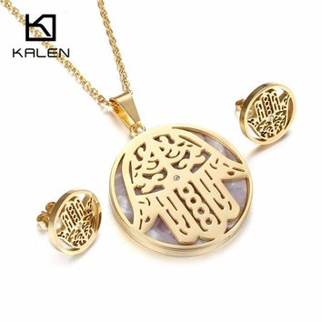 Kalen New Shell Fatima Hand Jewelry Set Stainless Steel Italian Gold Color Hamsa Hand Pendant Necklace & Earrings Set For Women