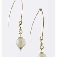 ROUND PEARL BALL DROP EARRINGS