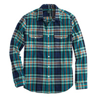 J.Crew Mens Flannel Shirt In Blue Herringbone Plaid