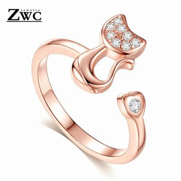 Creative Cute Simple Cat Crystal Ring For Woman