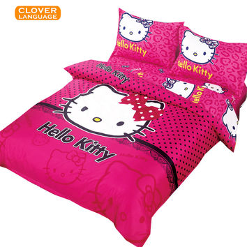 Hello Kitty Bedding Set Children Bed Sheets Hello Kitty Duvet Cover Bed Sheet Pillowcase, Free Shipping