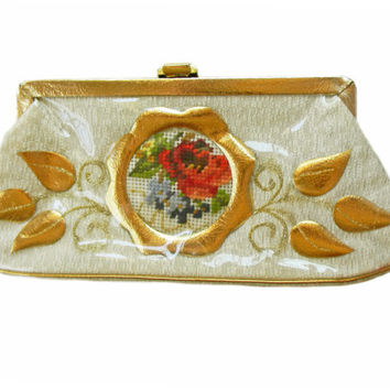 Clutch Purse Vinyl Fabric Gold Frame Leaf Vine Motif with Needlepoint Center
