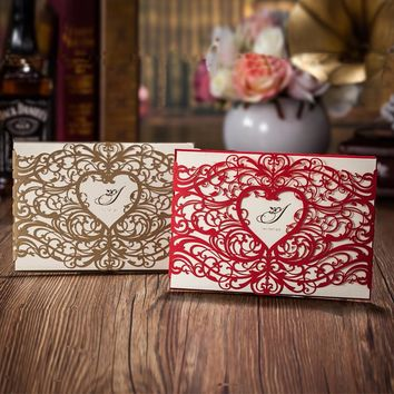 100 pcs Heart Style Laser Cut Wedding Invitation Cards, Red or Gold Invitations Cards, Customizalbe Free, Free express shipping