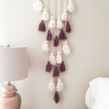 yarn wall hanging, tassel hanging, wall art, statement piece, boho bohemian home decor