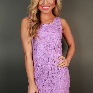 Garden Party Crochet Mini Dress in Orchid