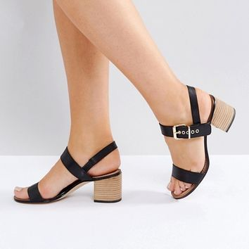 Dune Wide Fit Jany Leather Block Heel Buckle Sandals at asos.com