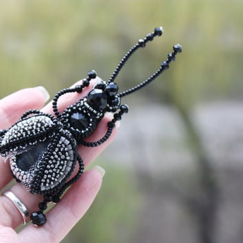 Brooch handmade beaded, beadwork embroidery black beetle, beautiful jewelry, brooch unique designer jewelry, gift ideas, for her