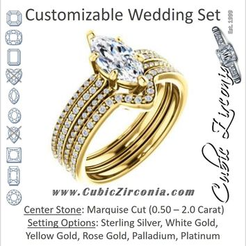 CZ Wedding Set, featuring The Isidora engagement ring (Customizable Marquise Cut Center with Wide Triple Pavé Band)