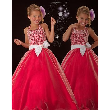 2017 New Red Pageant Dresses For Little Girls Flower Girl Ball Gowns Beaded Bodice with Bow For Size 6 7 8 9 10 12