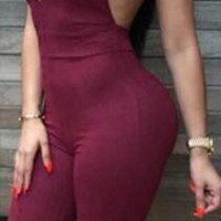 Spaghetti Strap Triangle Cup Cross Back Slim Long Jumpsuit