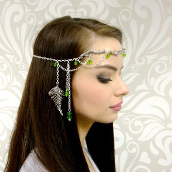 Forest Elf Branch and Fern Silver Circlet, Bridal Head Piece, Bridal Hair, Fairy Circlet, Elven Headpiece, Renaissance Crown, LOTR, larp